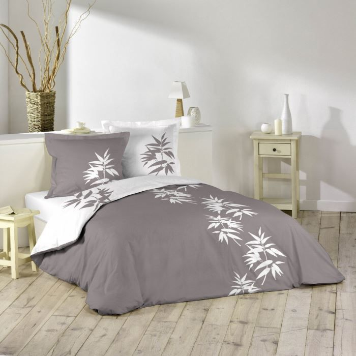 housse de couette 140x200 cm bamboo taupe blanc achat. Black Bedroom Furniture Sets. Home Design Ideas