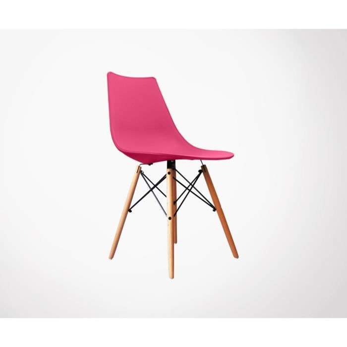 CHAISE Chaise Scandinave Rose Pieds Bois