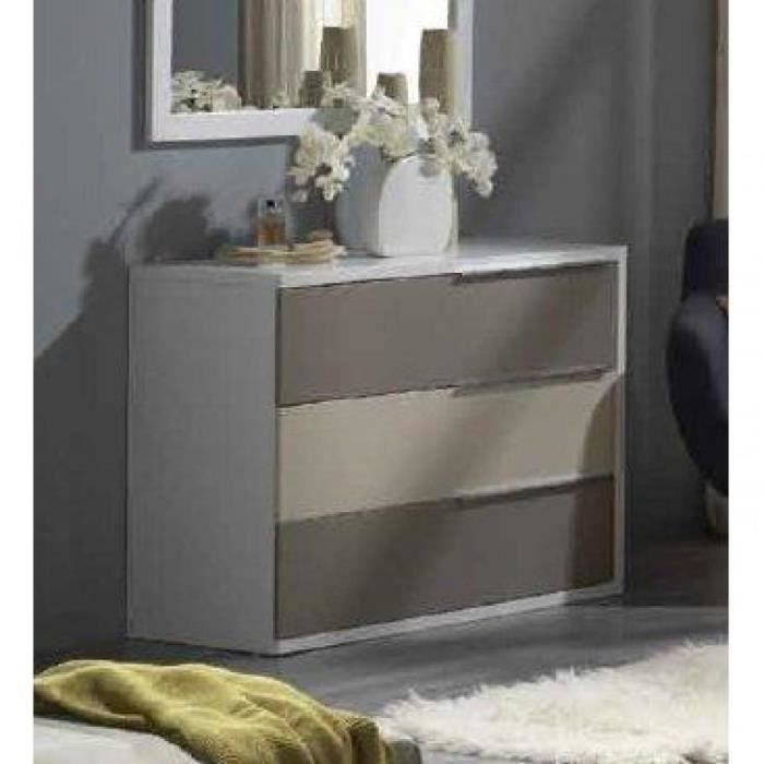 commode vigo blanche 3 tiroirs gris et taupe achat. Black Bedroom Furniture Sets. Home Design Ideas
