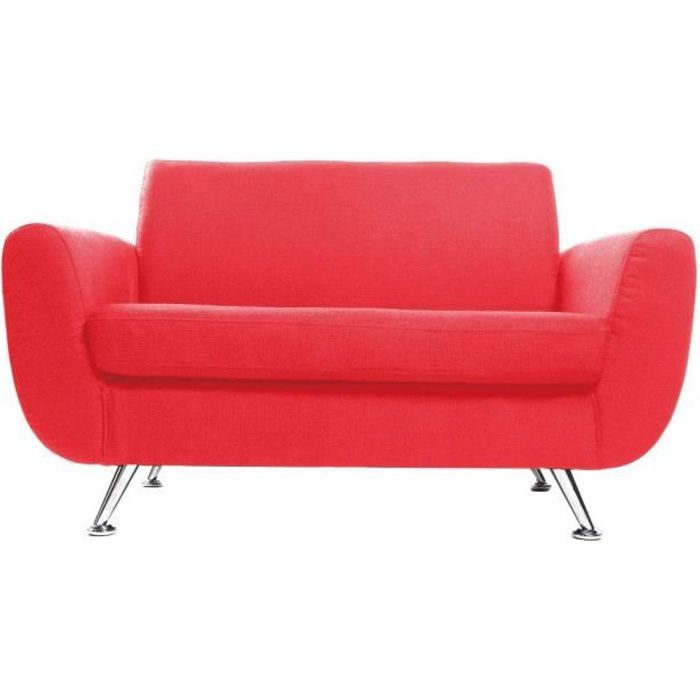 Miliboo canap design 2 places rouge pure achat for Canape rouge 2 places