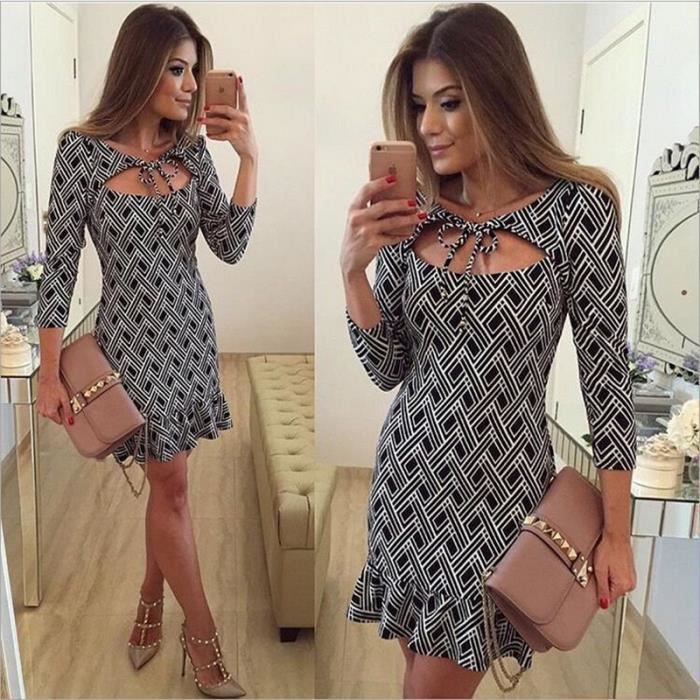 robe d 39 t femme sexy deep v neck mode manche noir blanche plaid imprimer pliss robe de soiree. Black Bedroom Furniture Sets. Home Design Ideas
