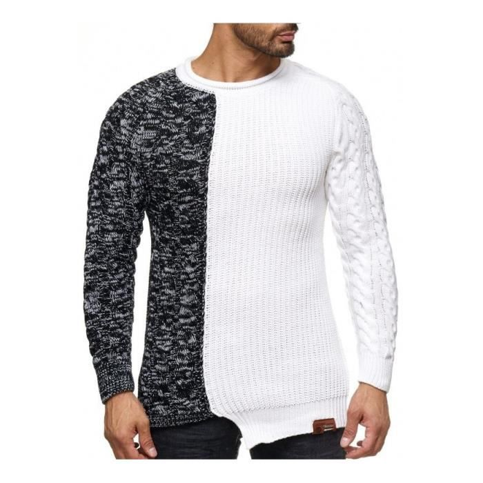 ad9c072f9b533 Pull col rond homme blanc bicolore stylé
