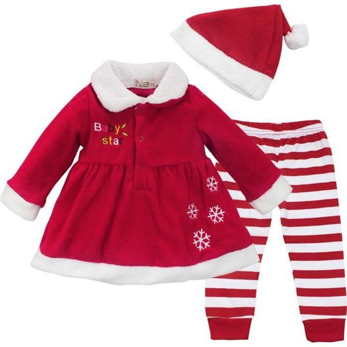 Robe Noël Bébé Fille ensemble , Déguisement père Noël bonnet de Noël Soirée  Anniversaire rouge fête, de 9 à 24 Mois