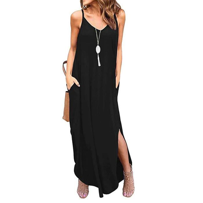 Femmes D Ete Poches Casual Robe A Bretelles Long Beach Cami Robe Longue Fendue Noir Noir Achat Vente Robe Cdiscount