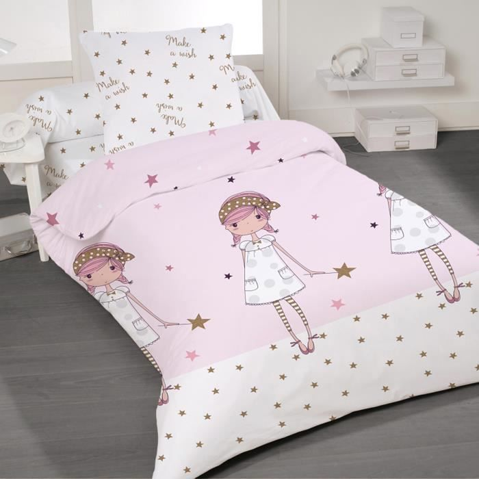 Make a wish soulbedroom 100 coton parure de lit housse - Housse de couette disney princesse ...