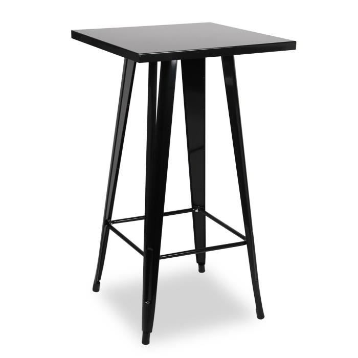 Table haute de bar krylia noir unica achat vente table for Achat table bar