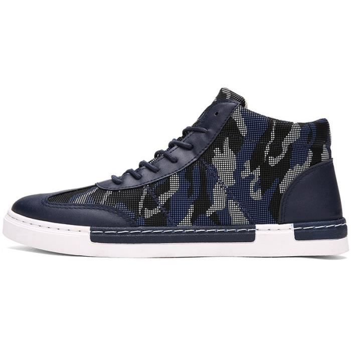 en bleu Chaussures Casual montantes Mode 39 cuir Baskets Hommes Chaussures Camouflage Hauts 8vCqq64w