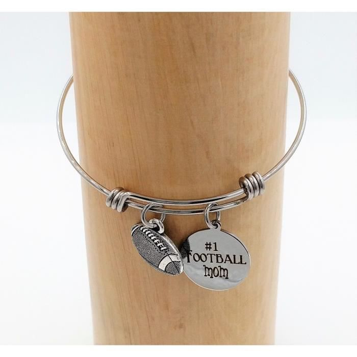 Womens Football Mom Charm Bangle Bracelet JXX7L