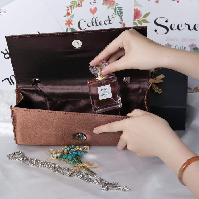 Pu Silk Fabrics Evening Envelope Magnet Hook Evening Clutch Bag Purse Handbags RVDMC