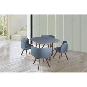 TABLE À MANGER COMPLÈTE Ensemble table + 4 chaises encastrables gris FLEN