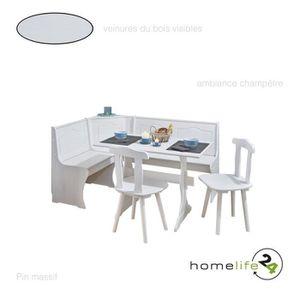 Salle à Manger Complète Table De Cuisine 2 Chaises Du Cuisines 1 Banc Bois Angle Ensemble Table Et Chaises Pin Massif Blanc