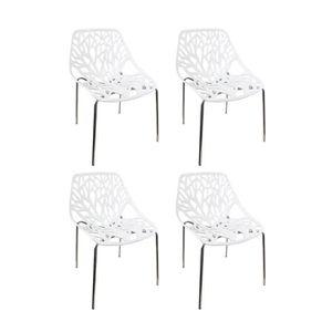 CHAISE Lot 4 chaises BLANCHES - design graphique et pieds