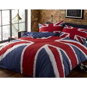 housse de couette union jack achat vente housse de couette union jack pas cher cdiscount. Black Bedroom Furniture Sets. Home Design Ideas