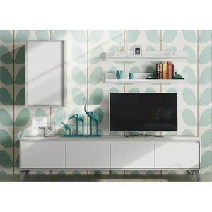 MEUBLE TV Meuble TV coloris blanc artic et décor béton - 50