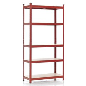 etagere metal rouge