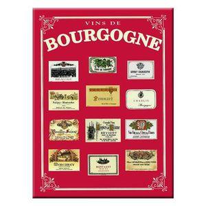 AFFICHE - POSTER Carte et Poster Métal Vins de Bourgogne 21 x 15cm