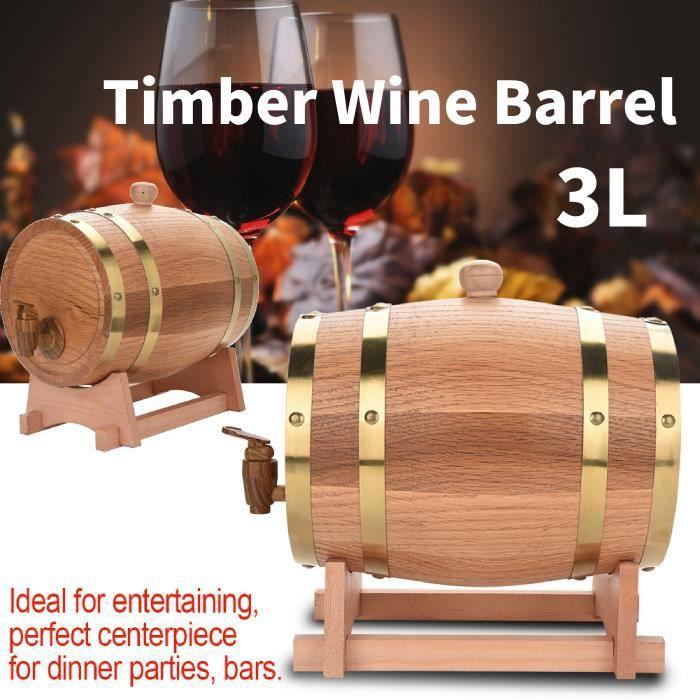 3L Baril de Vin Chêne Bois Tonneau de Vin Avec Distributeur Pour Vin Rouge Rhum Bière 22,5 x 23,5 x 30,5 cm HB041 -COO