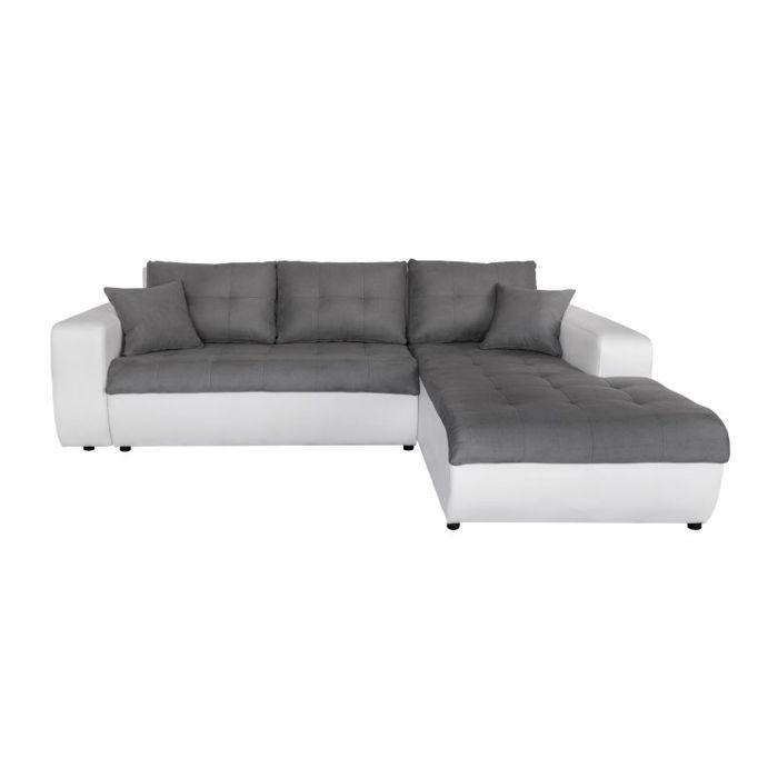 Canapé d'Angle Droit SUZIE Convertible en Simili et Microfibre Blanc - Gris
