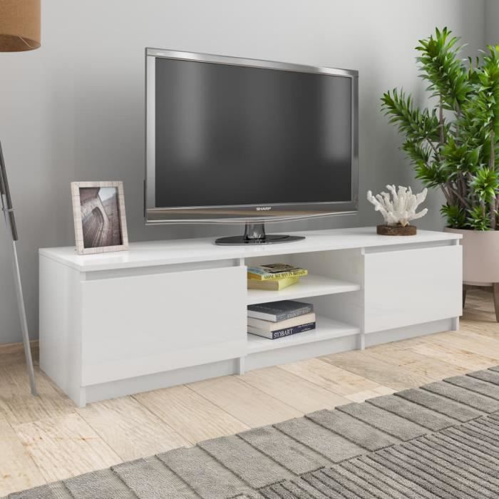 🍓 Meuble TV Blanc brillant 140x40x35,5 cm Aggloméré