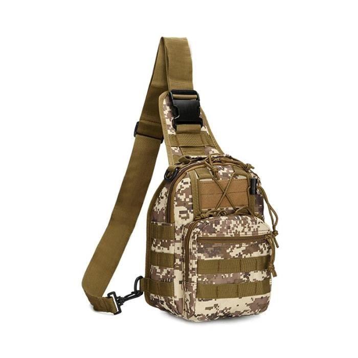 Desert digital -Sac à bandoulière militaire tactique Molle, sac à dos en Nylon Camouflage utilitaire voyage randonnée chasse Camping