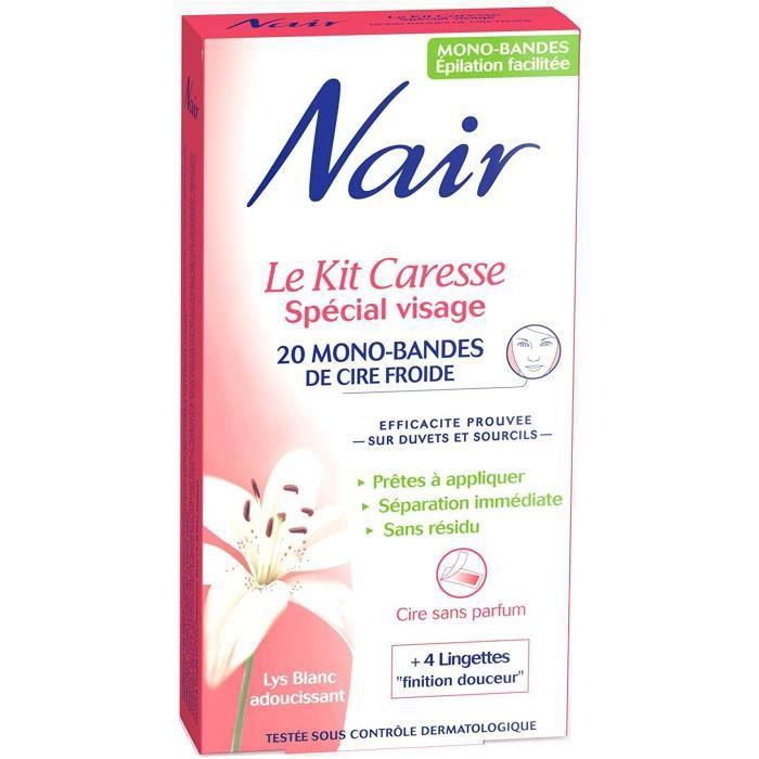 Nair - Kit Caresse Spécial Visage - 20 Mono-bandes de Cire Froide64