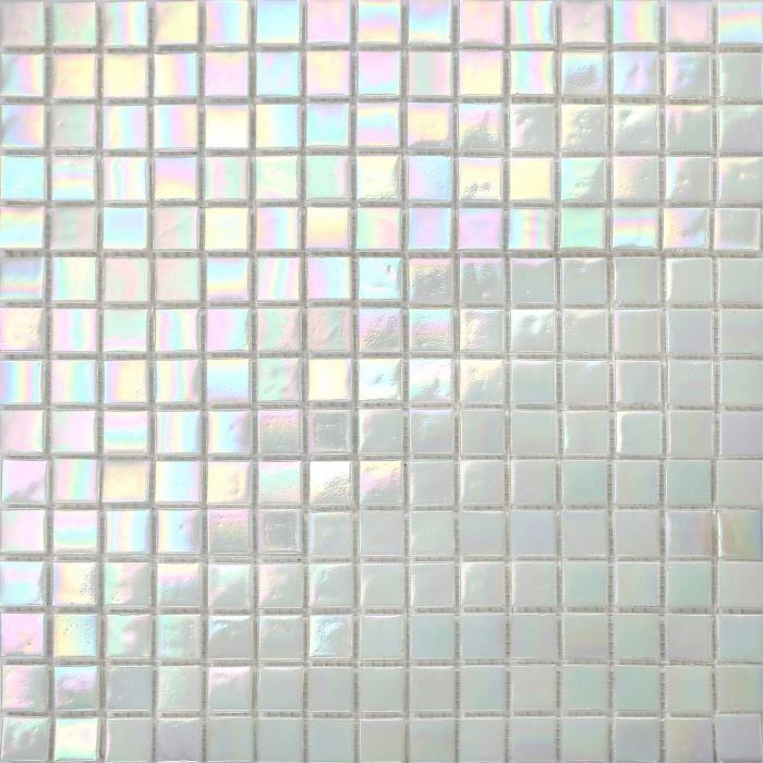 1 m2 Carrelage mosaïque en verre. perle blanc irisé chatoyante. 33 cm x 33 cm (MT0131)