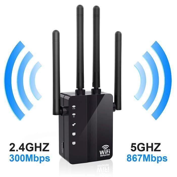 MOONMINI Répéteur Wifi 1200 Mbps Double Bande à travers le mur répéteur 4 antenne WiFi Range Extender,NOIR An20476