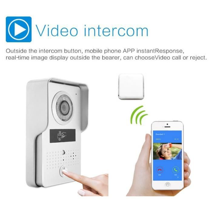 Wireless Wifi 3G 4G Video Door Phone Intercom Doorbell system Night vision Camera+Indoor Bell+RFID card for IOS/Android phone