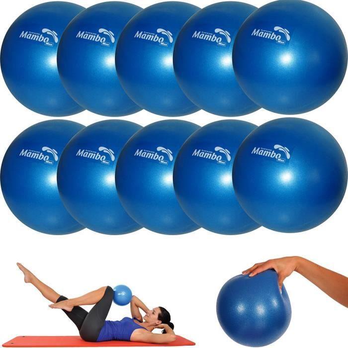 MSD 10 pièces – Boule 26 cm souple + 2 Bouchons + Paille Pilates Gymnastique Yoga Gym Soft Over Ball Bleu