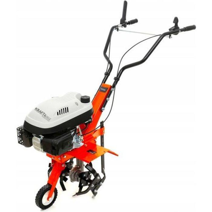 DCRAFT - Motobineuse thermique 139 cm3 puissance 3.6 kW - Outil jardinage - Fraises robustes - Régime 3000 tours/minute - Orange