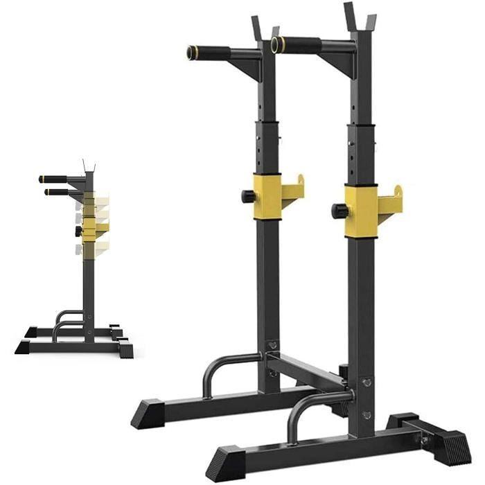 BARRE HALTERE POIDS GJXJY Squat Rack Halt&eacuterophilie Support, Repose Barre Musculation Support, R&eacuteglable Barre de Sq211