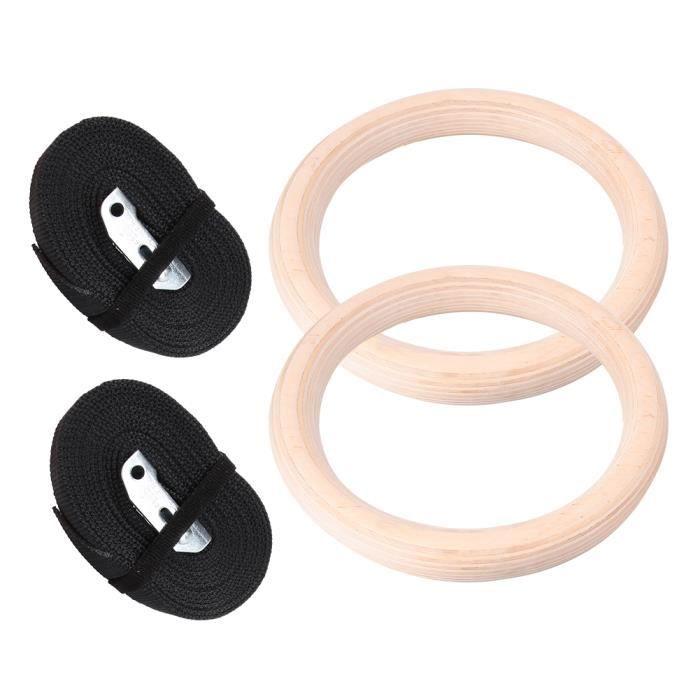 Sonew anneau de gymnastique de gymnastique 1 paire d'anneaux de gymnastique professionnels en bois Gym Fitness musculation avec