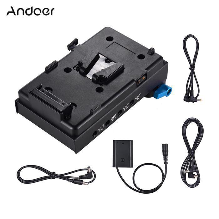 Adaptateur de plaque de batterie V-Lock Andoer à montage en V avec pince de tige à double trou de 15 mm Adaptateur de batteri-324