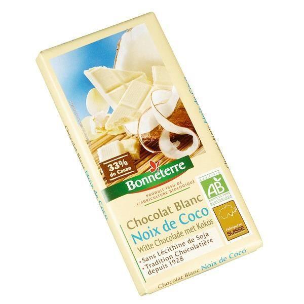 Chocolat blanc noix de coco, 100g