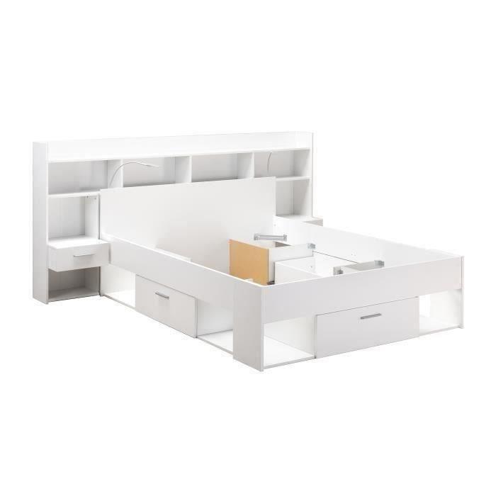 CHICAGO Ensemble lit adulte 140x190/200 cm + Rangement avec Liseuse LEDS - Décor blanc mat