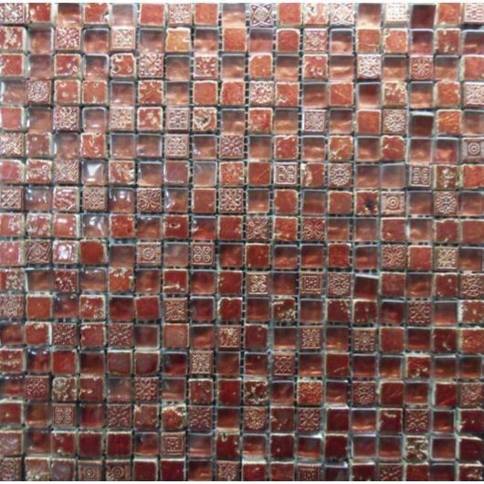 Mosaïque en pate de verre et carrelage - Dimensions : 30 x 30 cm - Rouge