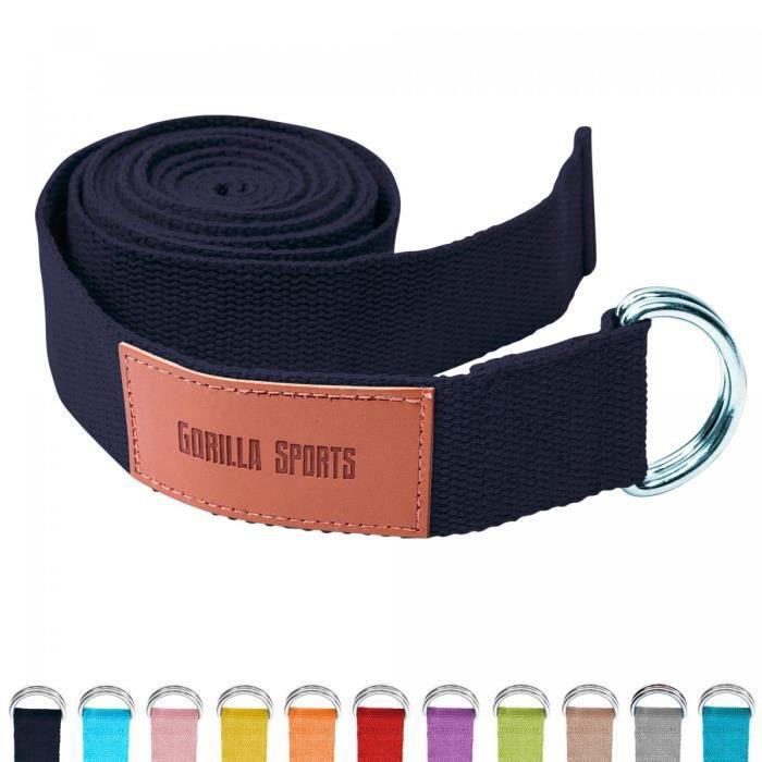 Sangle de Yoga Noire - 100% coton - Sangle pour étirements - Fermetures en métal