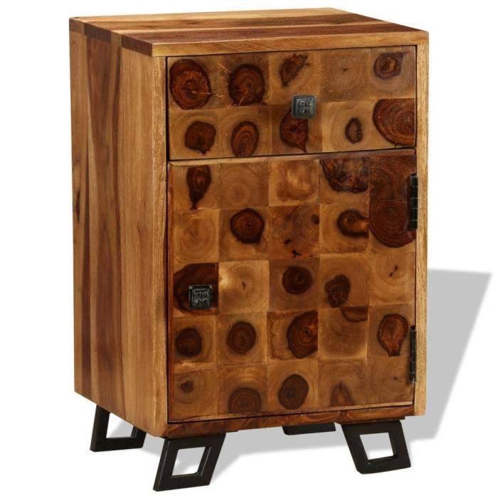 Homgeek Table de Chevet en Bois de Sheesham Massif Table de Nuit pour Chambre 37 x 30 x 54 cm