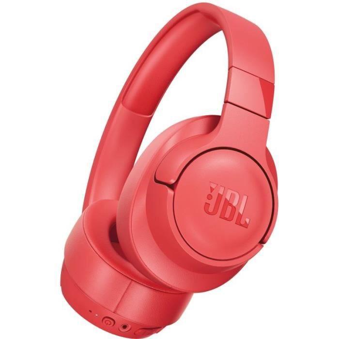 JBL T700BT Casque Bluetooth Sans Fil - Appel Stéréo Mains Libres - Léger & Pliable - Autonomie de 27 hrs - Bluetooth - Corail