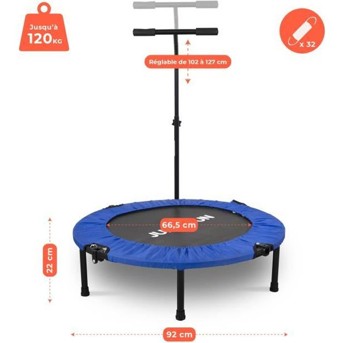 Mini Trampoline Fitness Jump4fun Pliable T-Bar - Ø92cm, Bleu