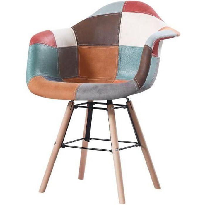 INAYA - 1 fauteuil scandinave - Cuir - Multicolore - pieds en bois et metal design salle a manger salon - 62 x 62 x 82 cm