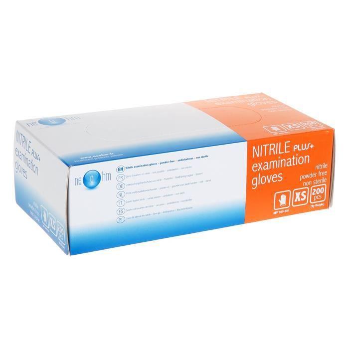 Boite de 200 gants médicaux jetables en nitrile non poudrés Taille XS