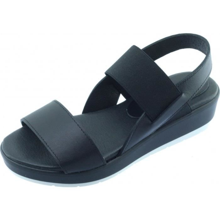 GWENDOLINE – sandales bride élastiquée et semelle confort chaussures pour Femme fabriquée en Espagne marque Angelina cuir noir