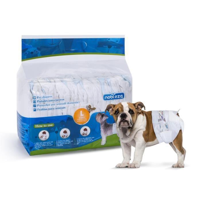 Nobleza - Pack de 12 couches jetables pour chien, bien-être et confort. Extra absorbantes. Taille L (5 à 8kg).