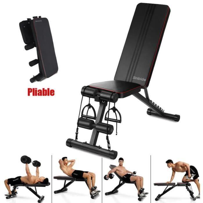 SINBIDE® Banc de Musculation Pliable Banc de Poids Gymnastique à Domicile & AB Abdominaux Banc incliné Plat Banc d'exercice