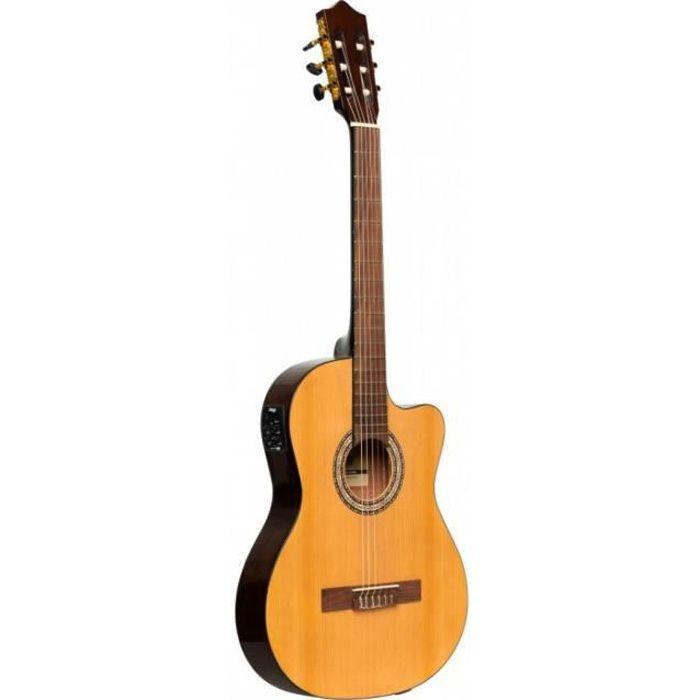 Stagg SCL60 TCE-NAT - Guitare classique électro-acoustique pan coupé - naturelle