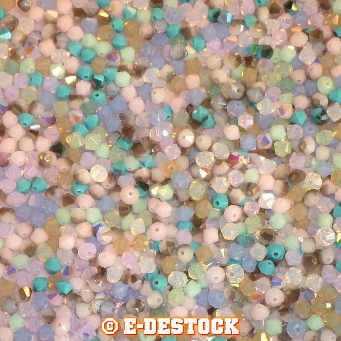 50 Perles Swarovski® Toupies 4mm MIX MULTICOLORE Tons Pastel