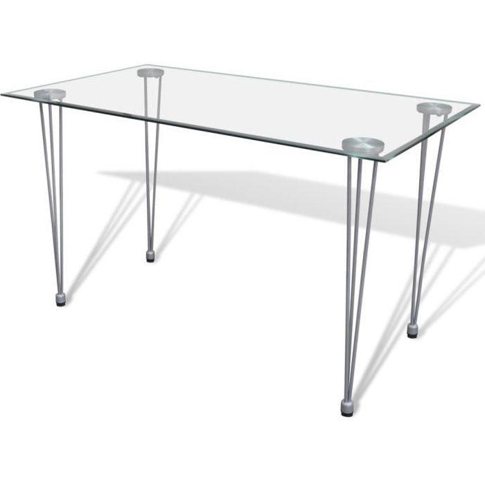 vidaXL Table salle à manger plateau en verre trempé, 120 x 70 x 75 cm