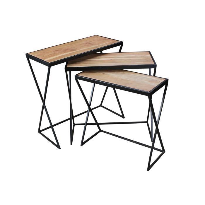 Ensemble de 3 tables design Acacia Tables gigognes en bois massif avec pieds en métal
