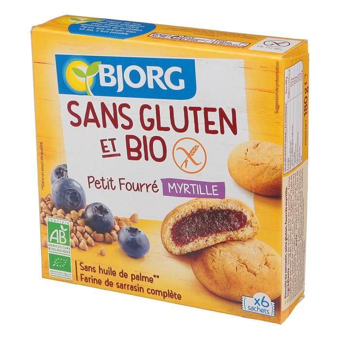 BJORG Biscuits Petit fourré Myrtille - Sans gluten - 180g